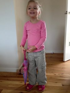 Holly looks gorgeous in her pink shoes made just for her! These shoes support her ankles, and she doesn't need orthotics!